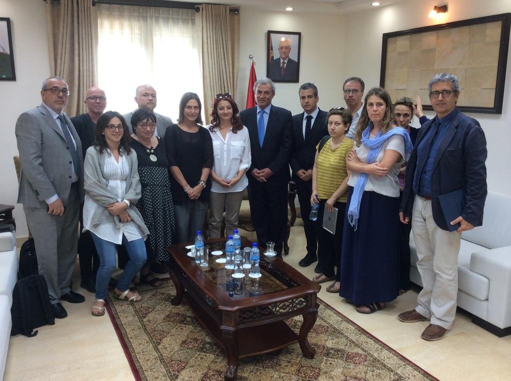 """La delegazione dei """"Parlamentari per la pace"""" con Ziad Abu-Amr, vice-primoministro del governo palestinese di Unità Nazionale."""
