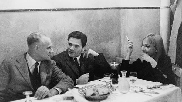 Pasolini con  Alberto Moravia e Laura Betti nel 1965