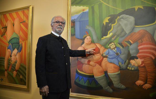 Fernando Botero all'inaugurazione della mostra al Vittoriano