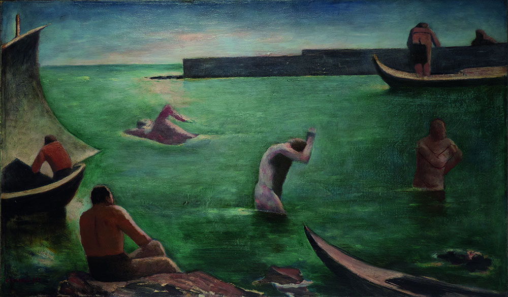 Carlo Carrà, Nuotatori (1932), olio su tela, cm 63,5x108,5.